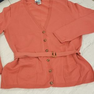 Talbots Petites Cardigan Belted Melon VGUC Cotton